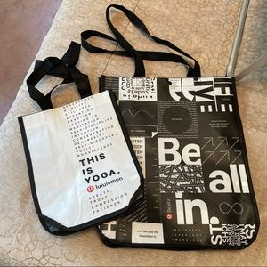 Two Lululemon shopping bags Large and Small NWOT